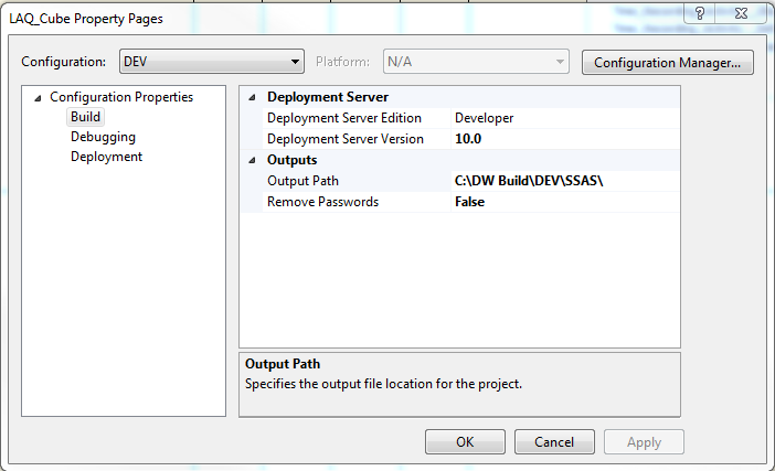 Automate build and deployment of SSAS Cubes using MSBUILD - Data
